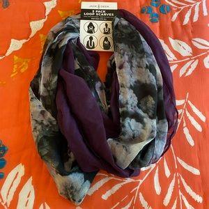 Jade & Deer two pack loop infinity scarves gauze